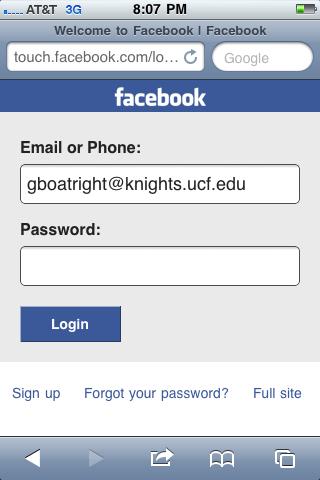 Mobile Website 2 | gBlog on facebook sign up page, facebook log out, facebook about us page, facebook login screen,